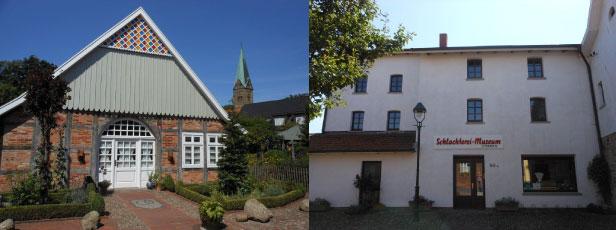 Das Ackerbürgerhaus und das Schlachtereimuseum in Vörden (v.l.n.r.)