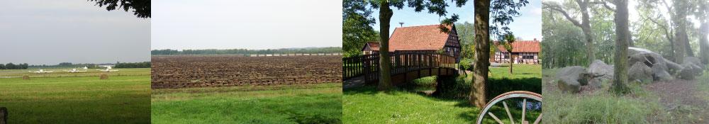 Flugplatz Damme, Moorlandschaft in Hunteburg, Mühleninsel in Venne und Hünengrab in Venne (v.l.n.r.)